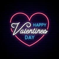 San Valentino con cuore al neon e testo vettore
