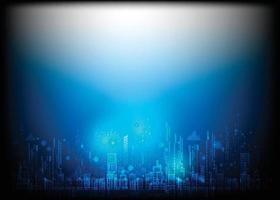 città moderna astratta con circuito, illustrazione alta tecnologia informatica sfondo di colore blu scuro. vettore