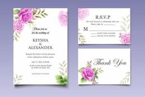 carta di invito a nozze con bellissimi fiori e foglie vettore