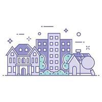 illustrazione di edifici e case residenziali vettore