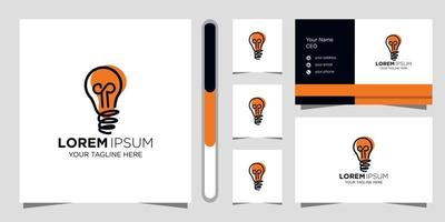 lampadina logo design creativo e biglietto da visita vettore