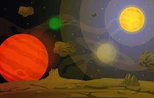 superficie del paesaggio del pianeta cielo spazio fantascienza illustrazione di fantasia