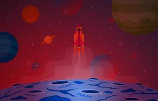 astronave astronave esplora pianeta cielo spazio fantascienza illustrazione di fantasia vettore