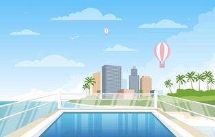 acqua piscina all'aperto hotel città relax vista illustrazione vettore