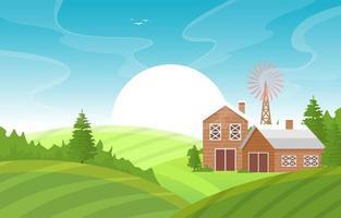 agricoltura campo fattoria rurale prato natura scena paesaggio illustrazione vettore