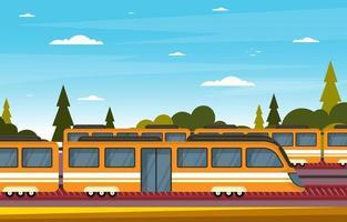illustrazione di paesaggio del treno della metropolitana del pendolare del trasporto pubblico del lato della ferrovia ferroviaria vettore