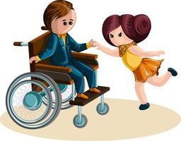 immagine vettoriale di una ragazza che balla con un ragazzo in sedia a rotelle. stile cartone animato.