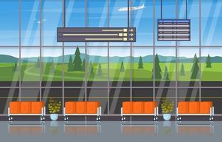 illustrazione piana interna del corridoio della sala d'attesa del cancello del terminal dell'aeroplano dell'aeroporto vettore