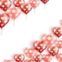 banner con palloncini rossi a forma di cuore vettore