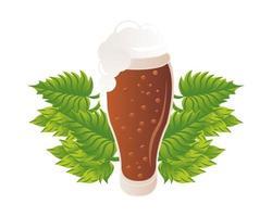 icona isolata di vetro e foglie di birra vettore