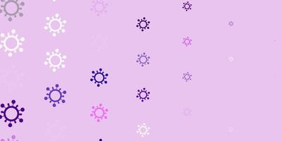 sfondo vettoriale viola chiaro, rosa con simboli di virus.