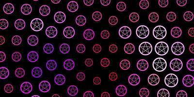 modello vettoriale viola scuro, rosa con segni esoterici.