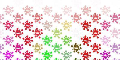 modello vettoriale rosa chiaro, verde con elementi di coronavirus.