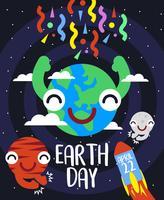 Vettore piano dell'illustrazione di giornata per la Terra