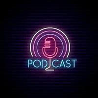 insegna al neon del podcast del microfono vettore