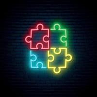 segno al neon di puzzle. luminoso simbolo di autismo su sfondo scuro muro di mattoni. vettore