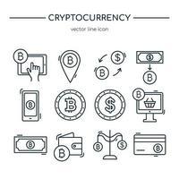 collezione di icone della linea di criptovaluta. set di icone vettoriali. vettore