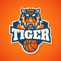 Vettore della mascotte di pallacanestro della tigre
