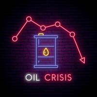 insegna al neon di crisi petrolifera. simbolo del barile di petrolio luce brillante sul fondo del muro di mattoni scuri. vettore
