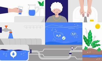 Acqua pulita e servizi igienico-sanitari per l'illustrazione piana di vettore di vita migliore