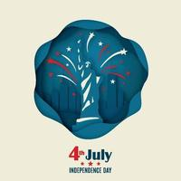 banner di auguri con la statua della libertà e fuochi d'artificio in stile origami. 4 luglio. giorno dell'indipendenza americana. vettore