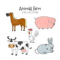 Collezione di simpatici animali da fattoria vettore