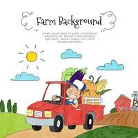 Contadino carino dentro Pick Up con verdure e paesaggio agricolo vettore