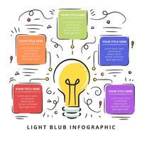 Light Blub Infographic disegnato a mano vettore