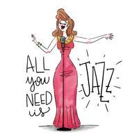 Cantante sexy della donna di jazz che porta vestito rosso con il microfono vettore