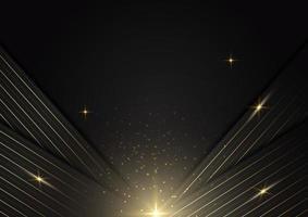 strisce astratte linee dorate sovrapposte diagonali con effetto luce su sfondo nero. stile di lusso. vettore