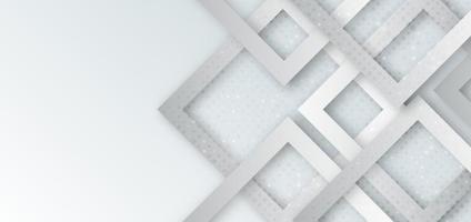 forma quadrata geometrica astratta grigia e bianca che si sovrappone con decorazione a punti e sfondo ombra.