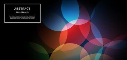 cerchi geometrici colorati astratti che si sovrappongono su sfondo nero. concetto di tecnologia. vettore