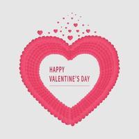 sfondo di San Valentino. sfondo astratto. cuori rosa sovrapposizione carta tagliata papaer su sfondo bianco. vettore