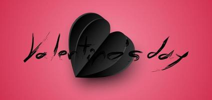 sfondo di San Valentino. carta tagliata carta nera cuore. sfondo astratto. illustrazione vettoriale.