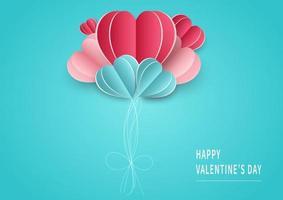 sfondo di San Valentino. sfondo astratto. palloncini cuori rosa e blu carta tagliata carta su sfondo azzurro. design per il festival di San Valentino. vettore