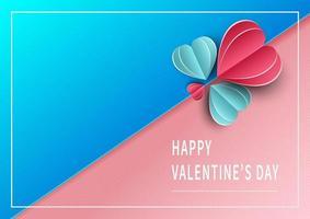 sfondo di San Valentino. cuori rosa e blu carta tagliata carta su sfondo rosa e blu con spazio per il testo.