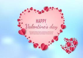 sfondo di San Valentino. cuori carta tagliata carta rossa su sfondo azzurro.