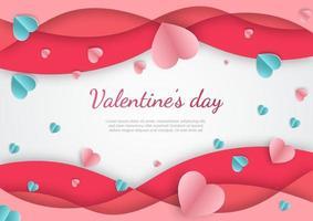 sfondo di San Valentino. cuori rosa e blu carta tagliata carta su sfondo bianco.