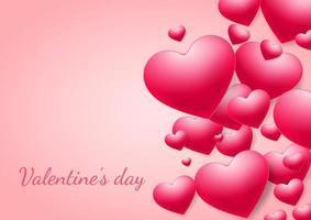 sfondo di San Valentino. cuori rosa sovrapposti su sfondo rosa con spazio per il testo.