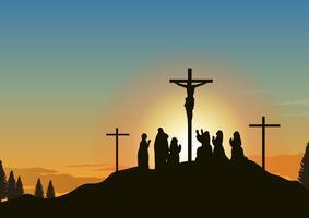 Calvario Paesaggio con Gesù vettore
