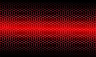 modello astratto di maglia esagonale metallica a luce rossa su design nero moderno sfondo futuristico illustrazione vettoriale. vettore
