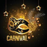 maschera d'oro per la celebrazione del carnevale vettore