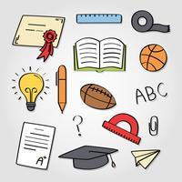 Elementi disegnati a mano della scuola