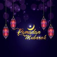 luna islamica con lanterna creativa e testo dorato vettore