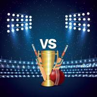 concetto di torneo di cricket con stadio e trofeo vettore