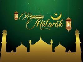 biglietto di auguri di ramadan mubarak su sfondo verde vettore