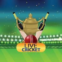 torneo di cricket con mazza e trofeo vettore