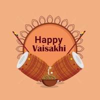 felice design piatto baisakhi e sfondo creativo con tamburo vettore