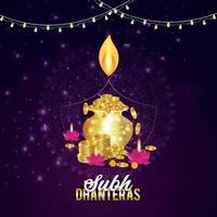 felice festival di luce diwali con diwali diya creativo e sfondo vettore