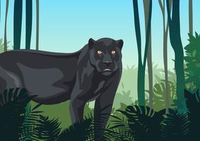 pantera nera nella giungla vettore